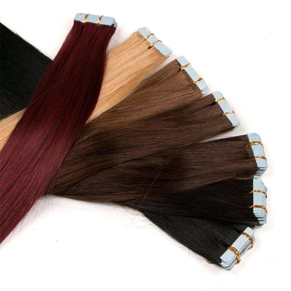 VMAE Europese Rechte 100g Double Drawn Cuticle Uitgelijnd Raw Virgin <span class=keywords><strong>Haar</strong></span> Donor Tape In Pre Bonded Human Hair extension