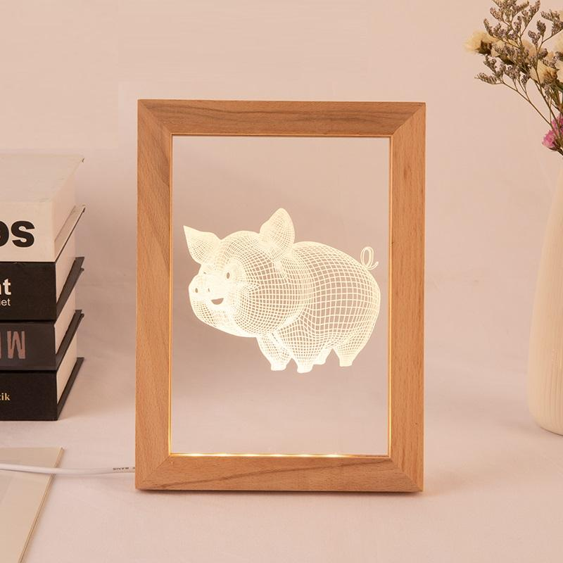 New product 3D Creative Lamp wooden Photo Frame Night Light for Home Decoration