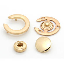 4 parts C shape gold double cap metal zinc alloy snap button for women coat