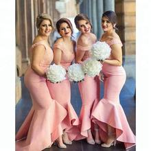 Custom Made Bridesmaid Robes Long Pink Off Shoulder Lace High Low Mermaid Bridesmaid Dress