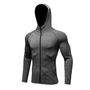 custom sport heather hoodie with dri fit workout running jacket for men