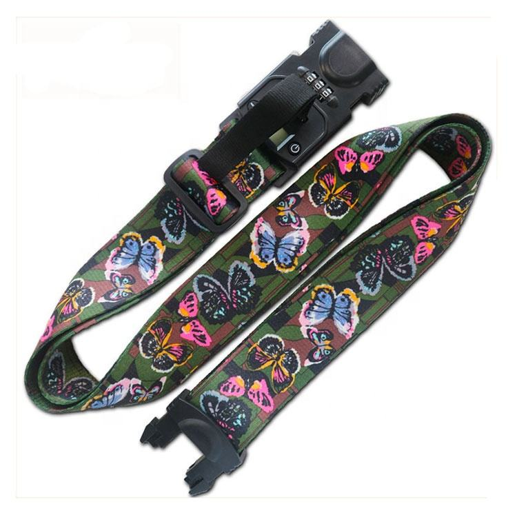 China supplier Fashion custom sublimation travel luggage adjust belt with lock