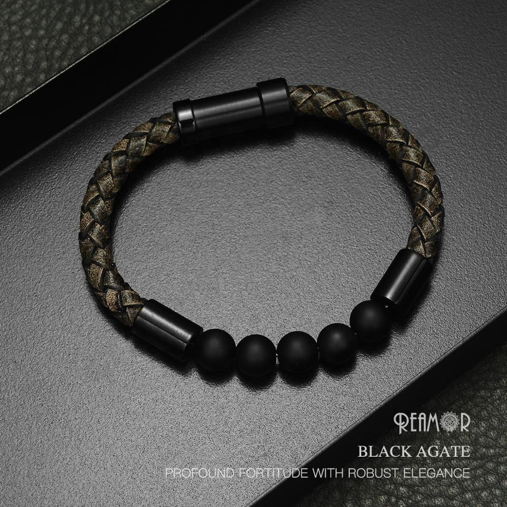REAMOR Men Style Retro Black Braided Leather Cord Onyx Stone Bracelet Natural Stone Genuine Leather Bracelet for Men and Women