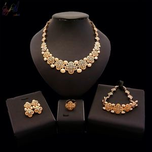 Yulaili Happy Go Lucky Clover Necklace Bracelet Jewelry Set Women Engraved Design 18K Gold Plated Jewelry with Rhinestone