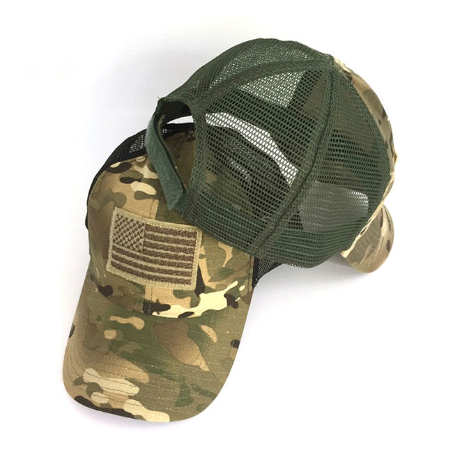 Guangzhou Factory Custom Meidiney Camo Embroidery US Flag Patch Ripstop Mesh Tactical Ball Cap