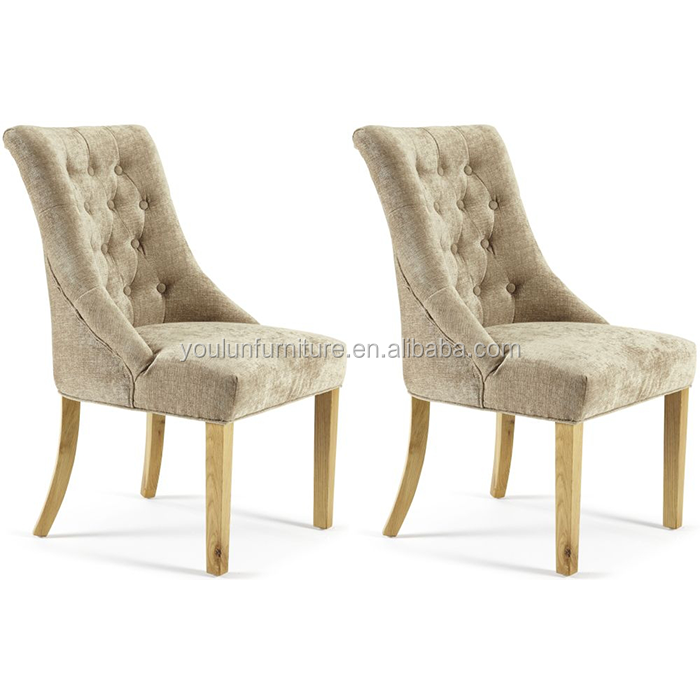 Oak Wood Fabric Luxury Tufted French Dining Chair