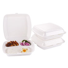 Disposable ps 10 inch square 3 compartment take away foam plastic food lunch box clamshell container packaging for  take out