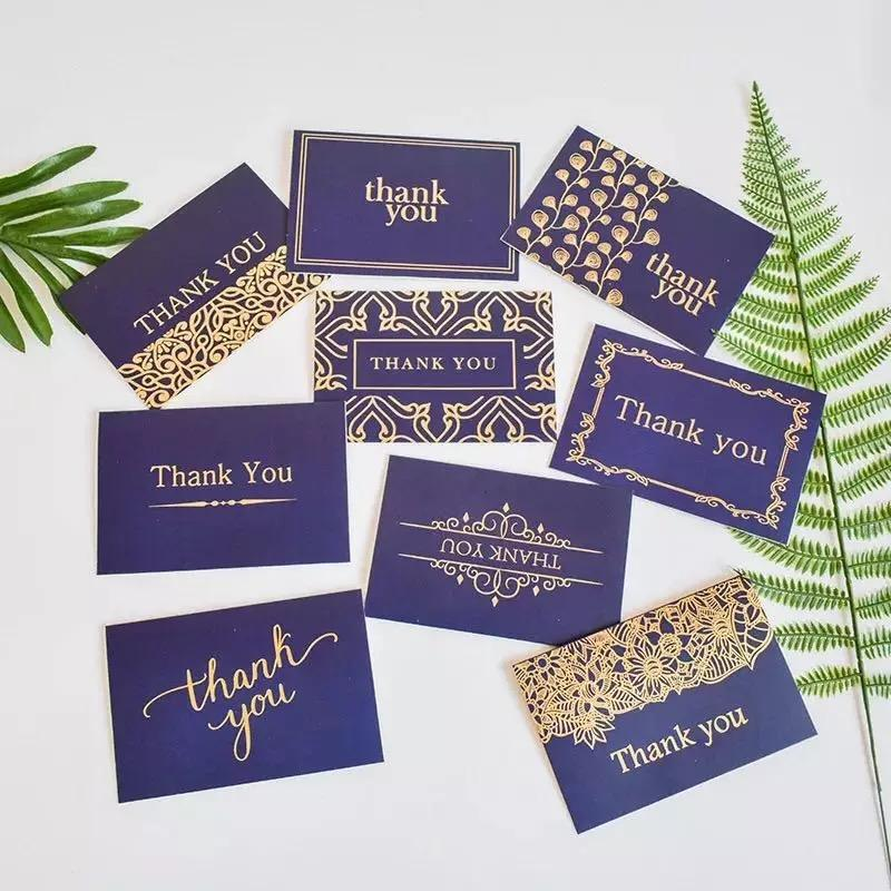 Luxury custom logo fancy white card gold foil stamping wedding thank you card