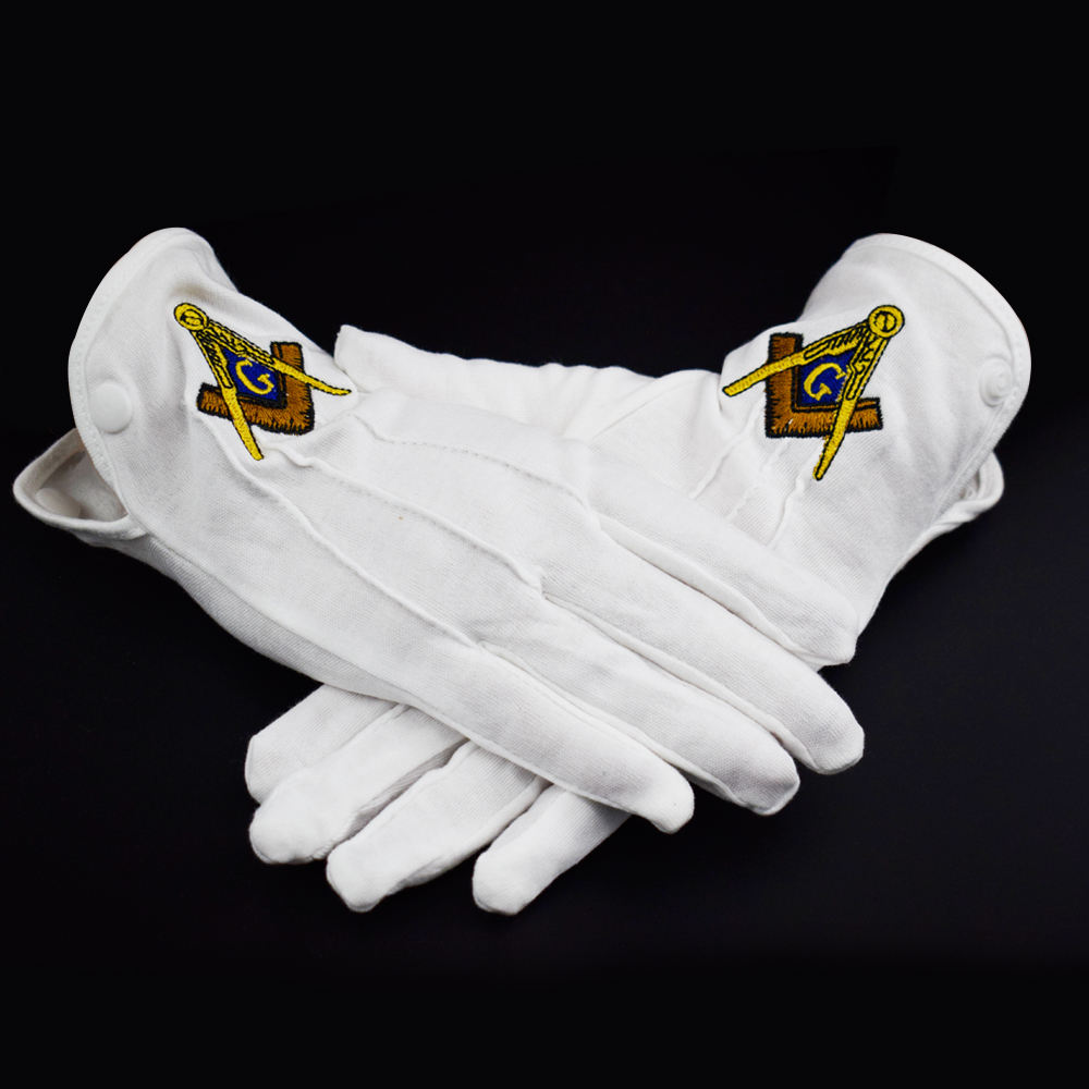 Custom Made Embroidery Logo Masonic Cotton Cheap high quality Gloves