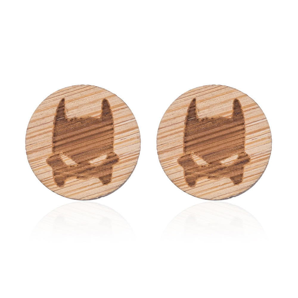 Cute Minimalist bird earrings Mini rustic wood bat batman/Triangle/Letter W Initial stud earrings