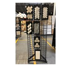 Showroom Metal Wire Mosaic Tile Swatch Card Display Rack with Wheels floor lantern marble swimming pool glass mosaic sample tin