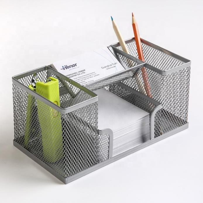 New Multi-Functional Metal Mesh 4-Compartment Desk Organizer Office Supplies