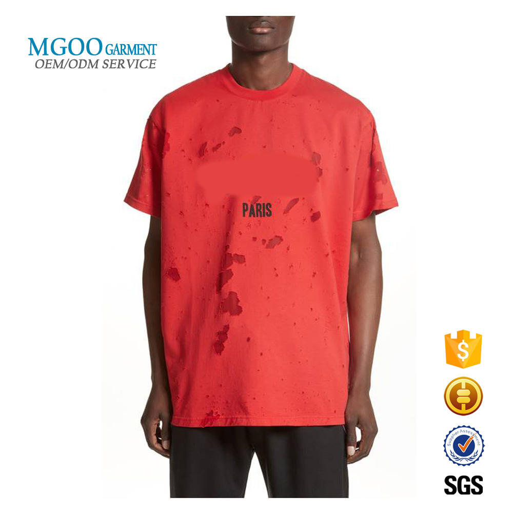 Oversized fit distressed t-shirt Custom logo print t shirt for men Worn out ripped street t shirts 100% cotton