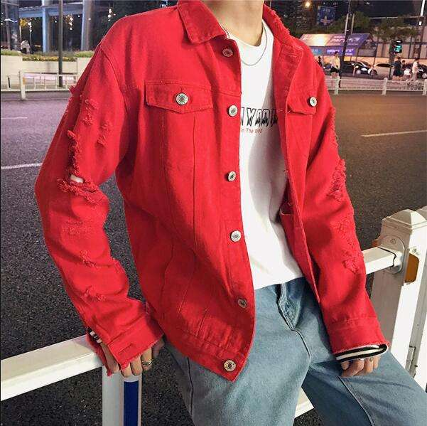 Wholesale Custom Logo Mens Plain Ripped Hip Hop Motorcycle Red Denim Jacket