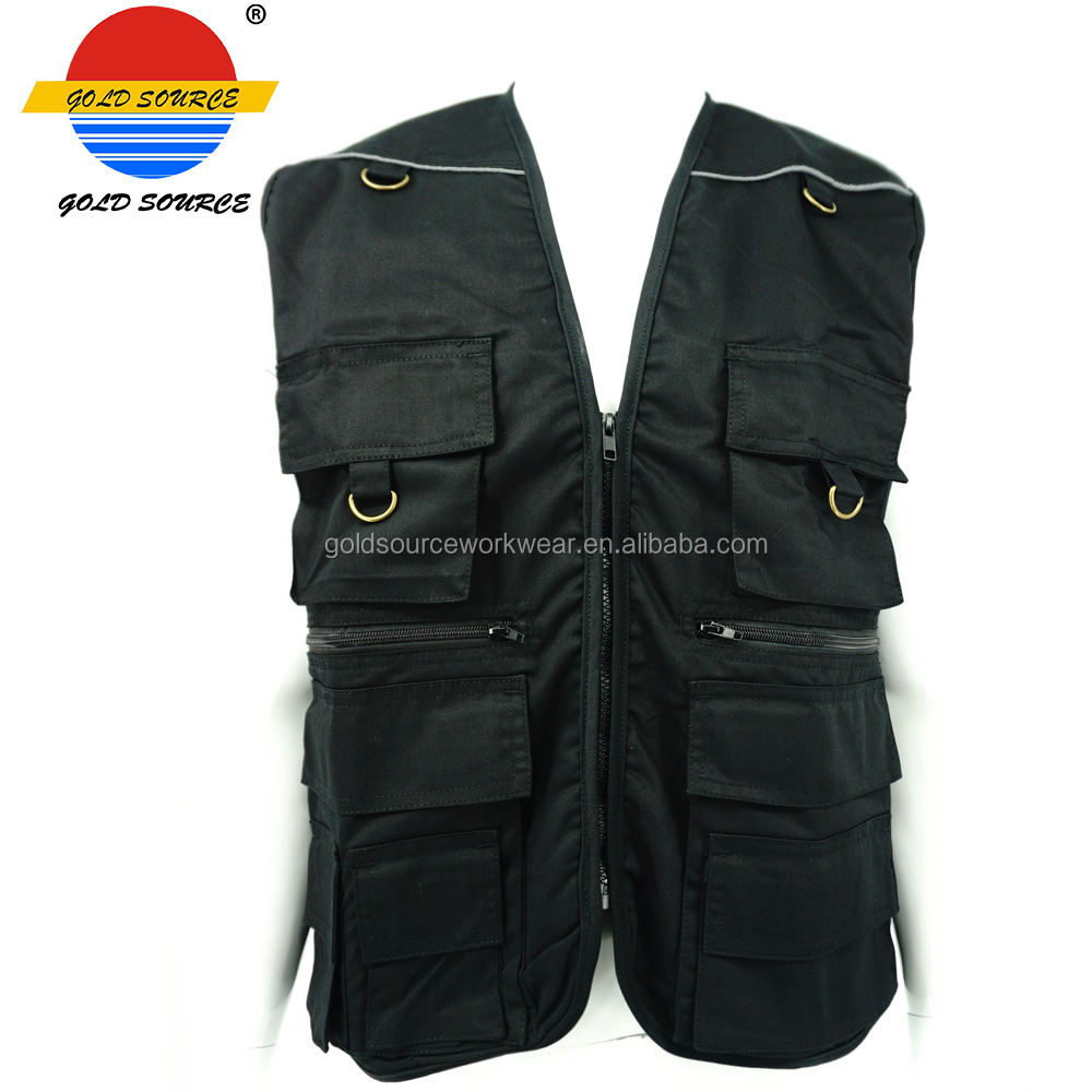 Mens Black Workwear Hunting Waistcoat Backyard Safari Photographic Cargo Vest with Multi Functional Pockets