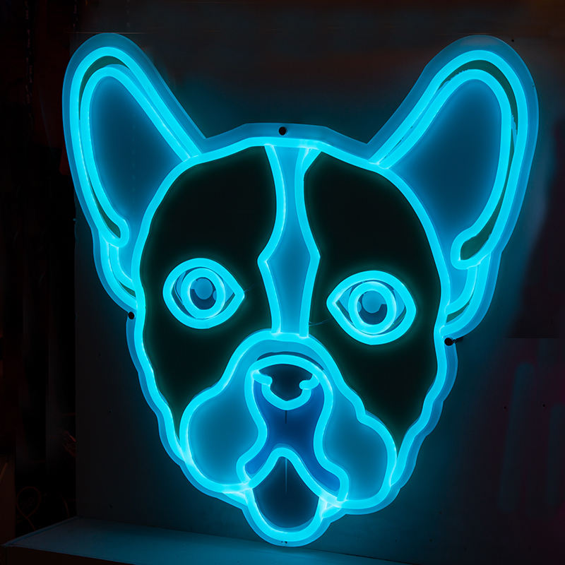 Personalized production decorative dog shape chinese neon sign china led neon light sign with acrylic backboard