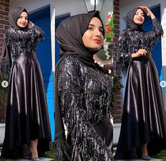 2019 fashion muslim sequin Blouse Muslim Abaya arabic evening dress