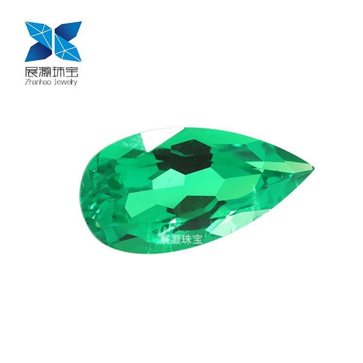 Zhanhao Jewelry pear cut loose big size 3ct 4ct hydrothermal panjshir emerald same component as natural emerald