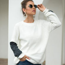Wholesale warm pullover knit autumn winter loose cheap new ladies crew neck contrast color Chenille Casual round neck sweater