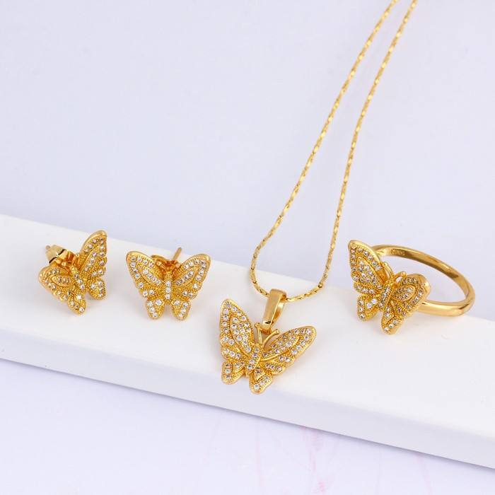 Fashion jewelry set wholesale elegant 18k gold plated butterfly jewelry set