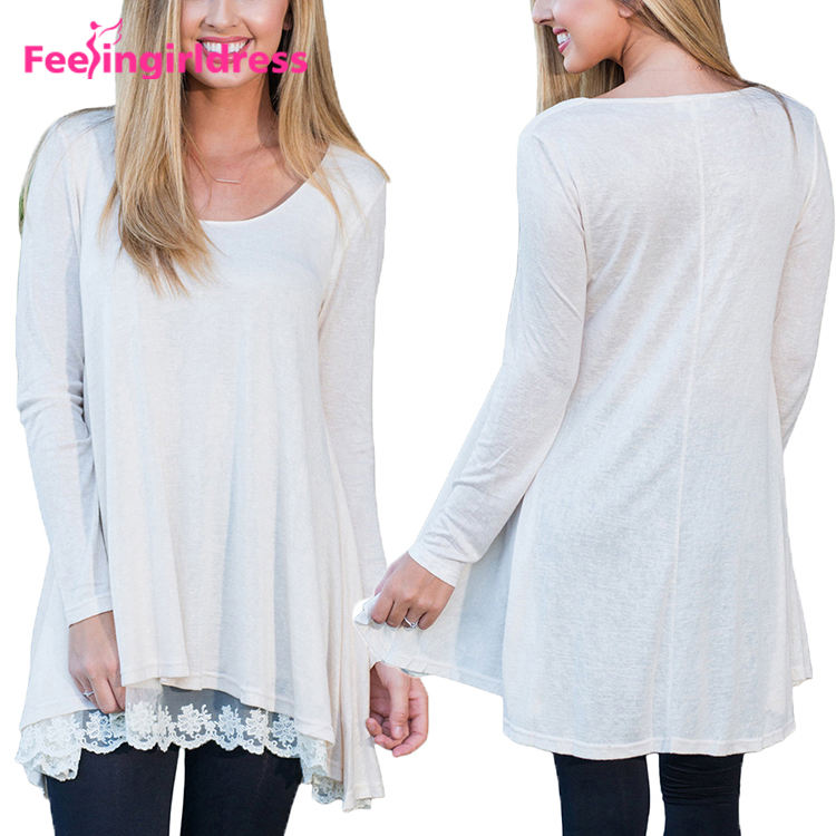 White Long Sleeve Hem Splicing Lace Loose Design Swing Tunic Tops For Women