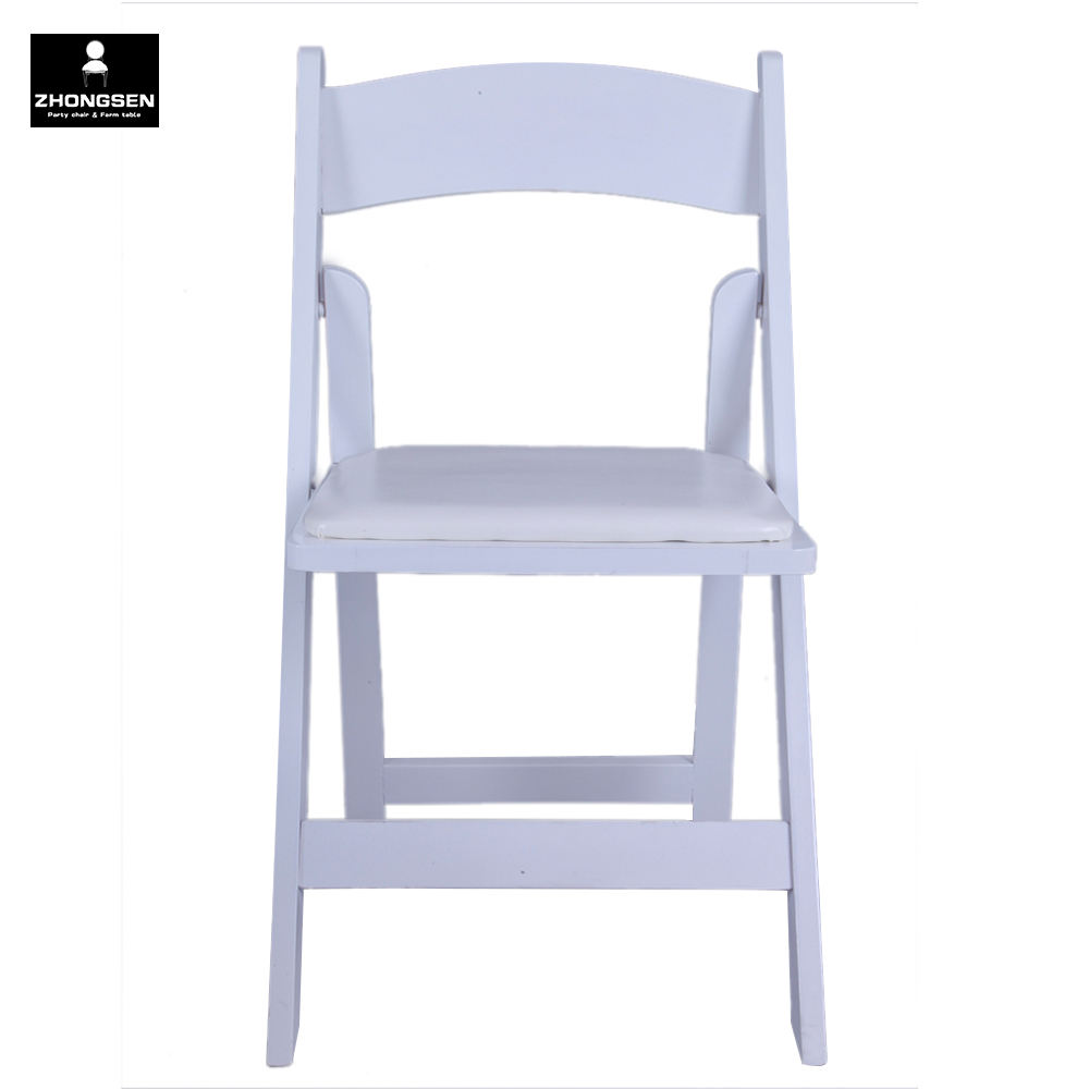 White Wooden Folding Wedding Banquet Chair for Outside Event Meeting