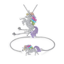 Fashion Luxury Wholesale Multicolor Horse Unicorn Bracelet Necklace Jewelry Set