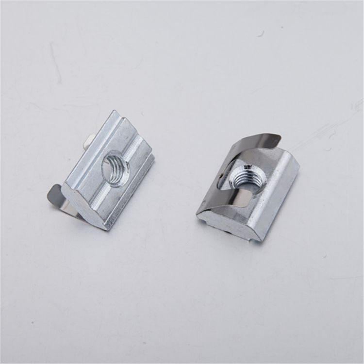 Steel locking spring leaf t slot nut for 30 40 series aluminum profile M4 M5 M6 M8 slot 8 (2A12.A)