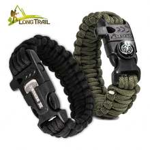 High quality mens friendship easy adjustable clasp woven 550 cord  length paracord survival rope bracelet led light tools