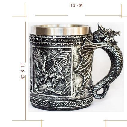 Zogift resina <span class=keywords><strong>tazas</strong></span> de acero inoxidable <span class=keywords><strong>Dragon</strong></span> fly consumición 3D <span class=keywords><strong>Dragon</strong></span> Spine Tankard real medieval