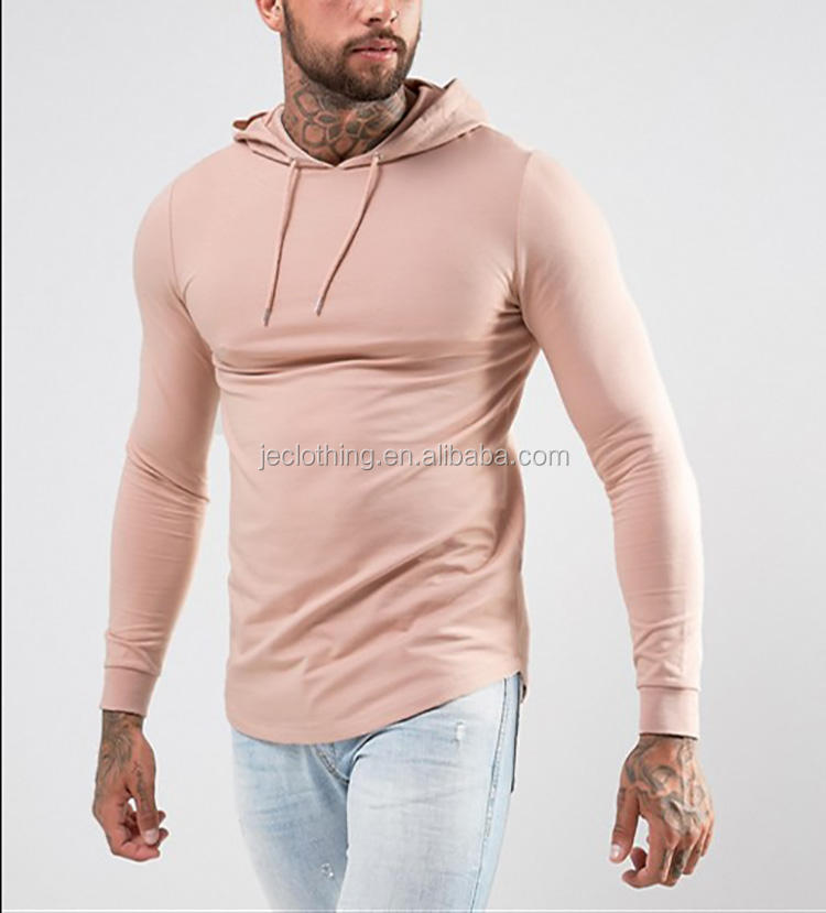 Wholesale French Terry Pure Cotton Men Slim Fit Curve Bottom Hoodie