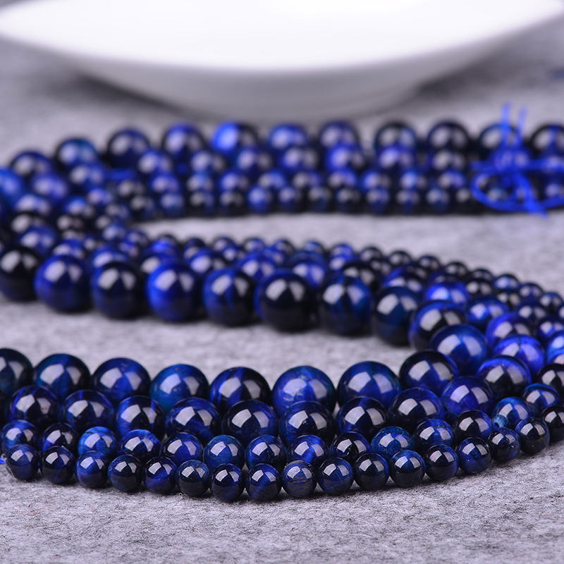 DIY natural stone loose beads strands in size 6 8 10 12 14 16mm natural blue tiger eye
