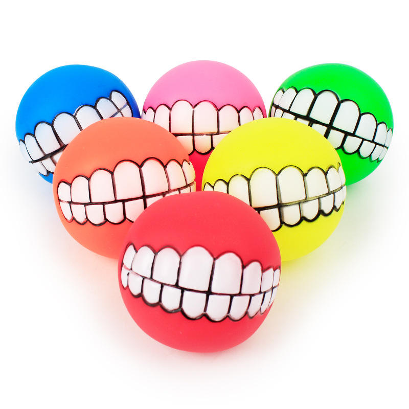 Funny Pets Dog Puppy Cat Ball Teeth Toy PVC Chew Sound Dogs Play Fetching Squeak aquarium Toys Pet Supplies