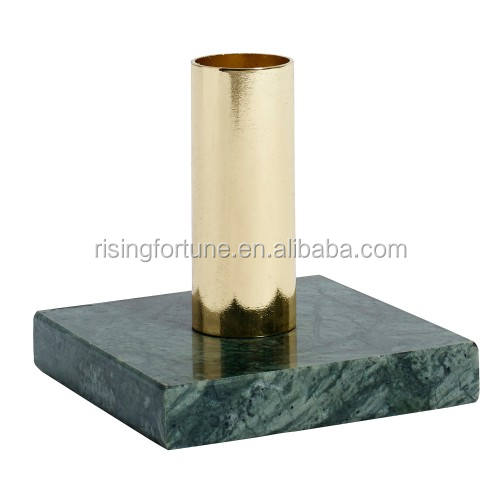 Green marble with copper candle holders