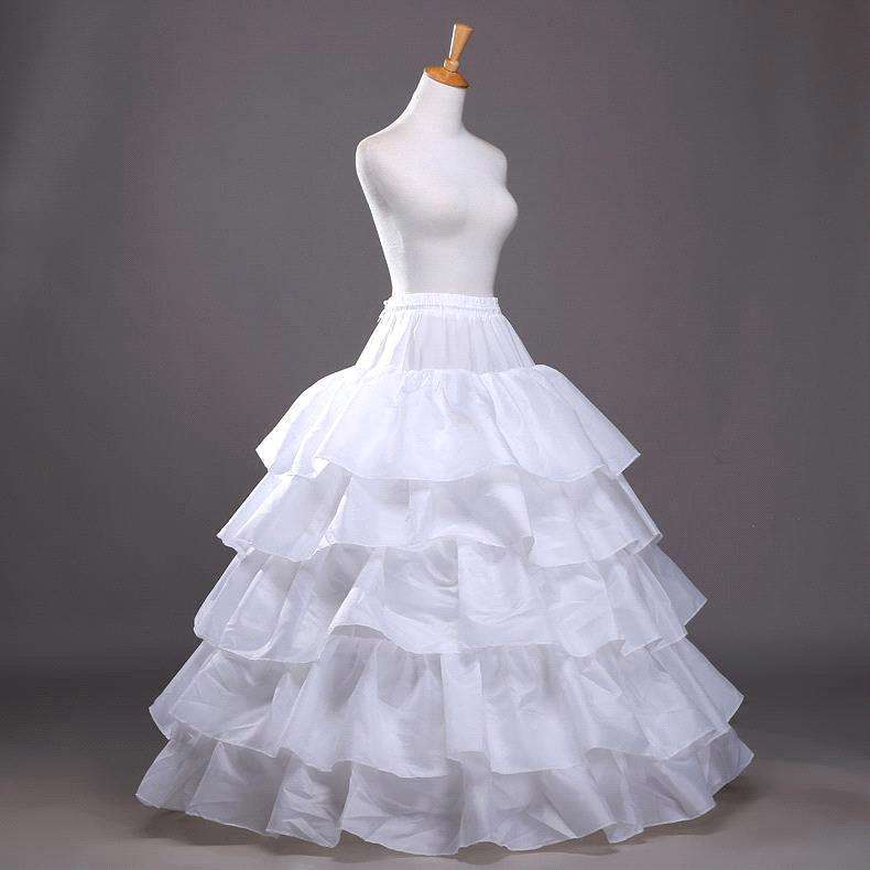 High Quality Big Ruffle Wedding Accessories Tulle Underskirts 4 Hoops 5 Layers Ball Gown Petticoats