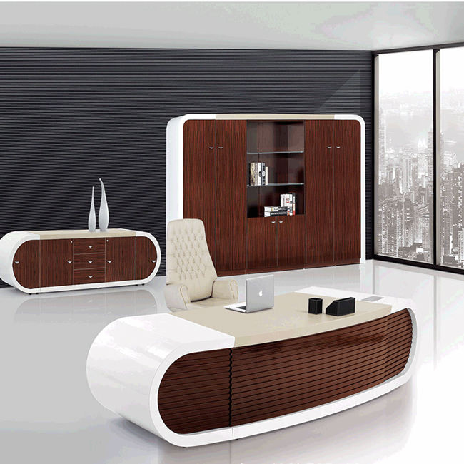 High Tech Executive Office Desk Latest Design Wooden Modern European Style Office Desk