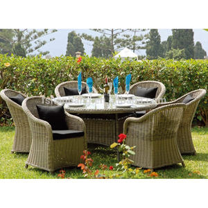 Outdoor 7 Pcs Resin Rotan Patio Furniture Luar Ruang Meja dan Kursi Set