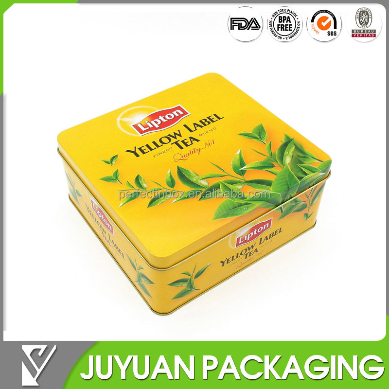 Square tea packaging metal tin box canister with hinged lid