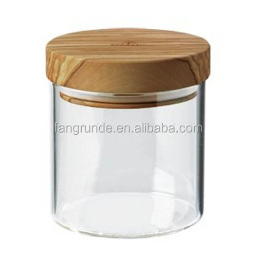 13.5-Ounce decorative & practical glass storage jar with safety wood lid