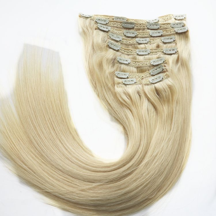 XUCHANG HARMONY 1 Set Light Color 320g 22inch luxury remy quality thick end clip in hair extensions 100% human hair