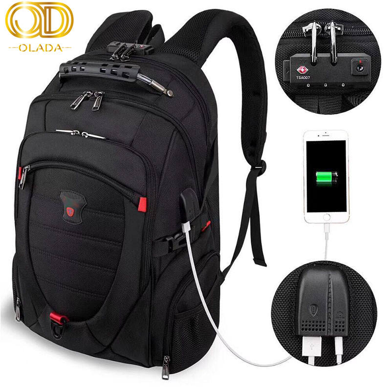 OLADA 2019 New Anti-thief Men Backpack Multifunctional Waterproof Travel Bag USB Charging Laptop Backpack Bag