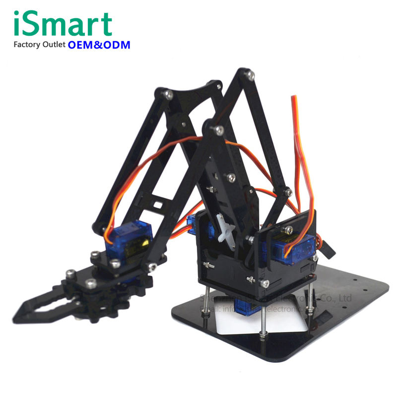 DIY Acrylic arduino robot arm robot claw kit 4 DOF Axis toys Mechanical grab Manipulator