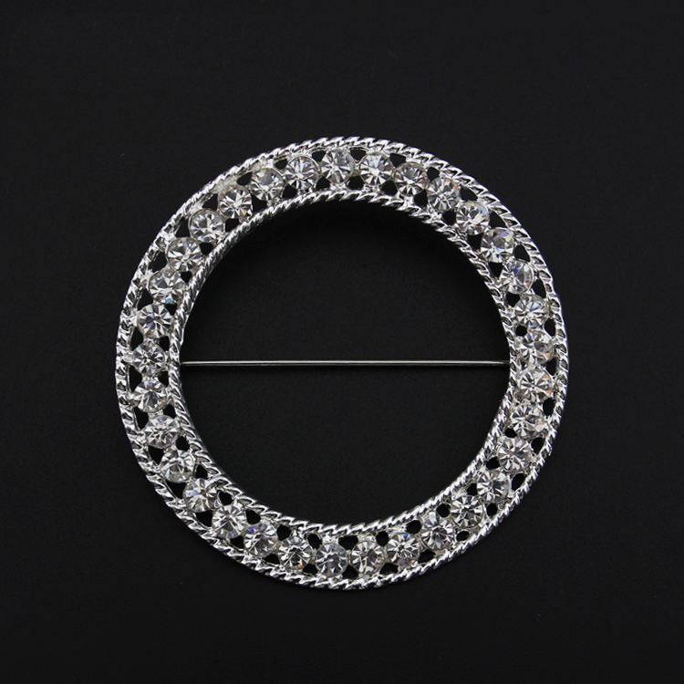 Fashion Wedding Brooch Jewelry Crystal Rhinestone Round Shape Ring Brooch