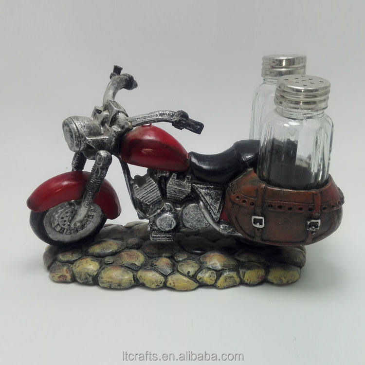 custom decorative resin motorcycle model salt and pepper holder