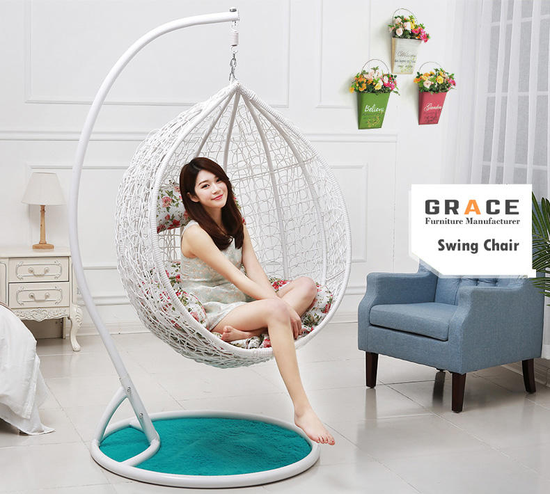 best sale factory price pe rattan swing hanging egg chair canada