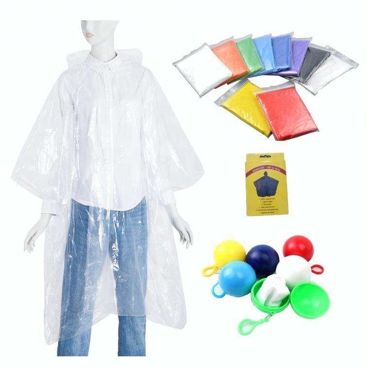 BSCI Factory Wholesale New Fashion Custom Logo Printed PE Disposable Biodegradable Rain Poncho/Raincoat In Ball
