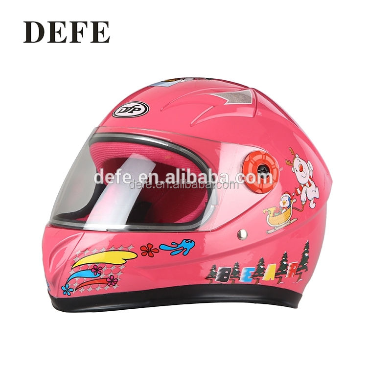 Beautiful shape full face cartoon pink lightweight kids motorcycle helmet