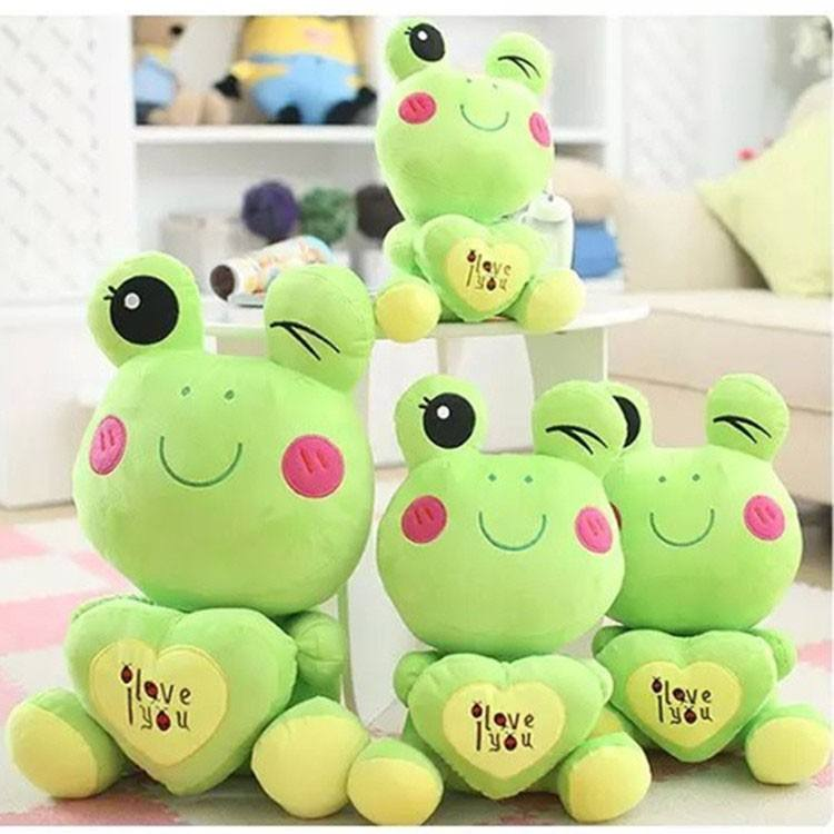 Color green cute hold the heart soft funny frog stuffed toy for kid