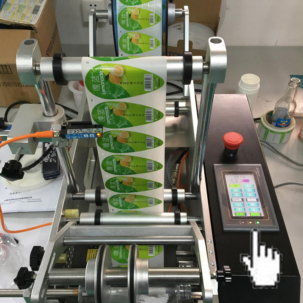 semi automatic round bottle sticker labeling machine with date print