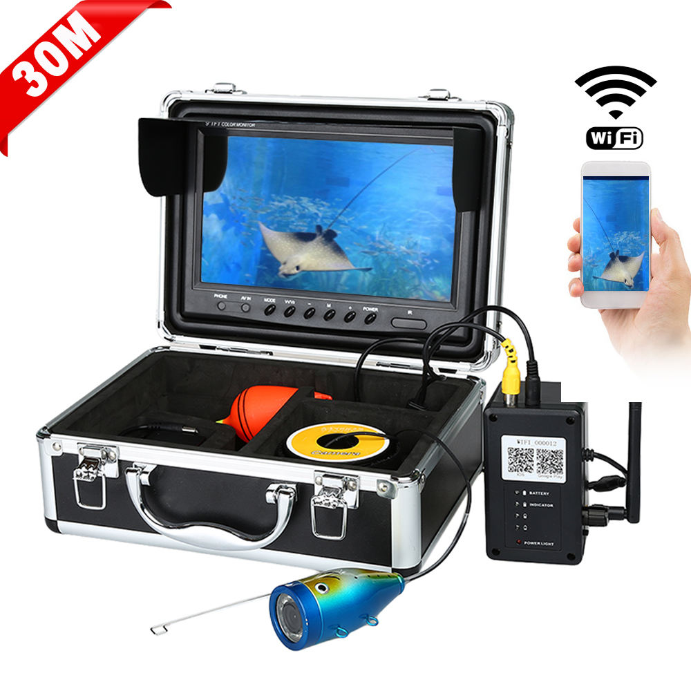 "750 Wireless WiFi Fish Finder Video Camera 9"" Monitor HD 1000TVL 30M Underwater Fish finder Camera 12IR LEDs"
